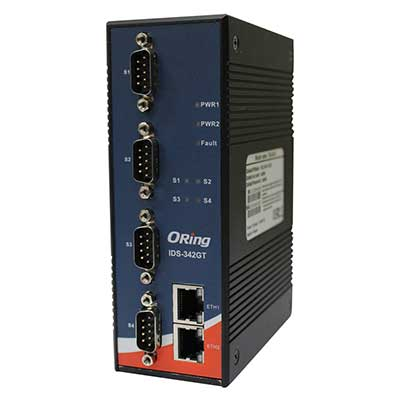 Routeur industriel Rail-din 4-port RS232 à 2 ports Gigabit Ethernet : IDS-342GT