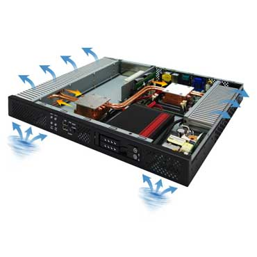 "19"" 1U Rack-mount Intel QM77 Fanless Rugged System, Wide Temp. -20 to 60°C : ROC235B"