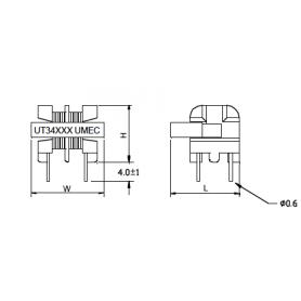 Inductance de mode commun (Noyau U) : Série UT349