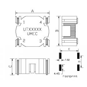 Inductance CMS de mode commun : Série UT341