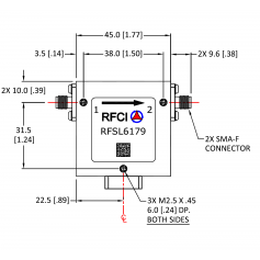 Isolateur coaxial type SMA bande étroite (0,2-20 GHz) : Serie RFCR