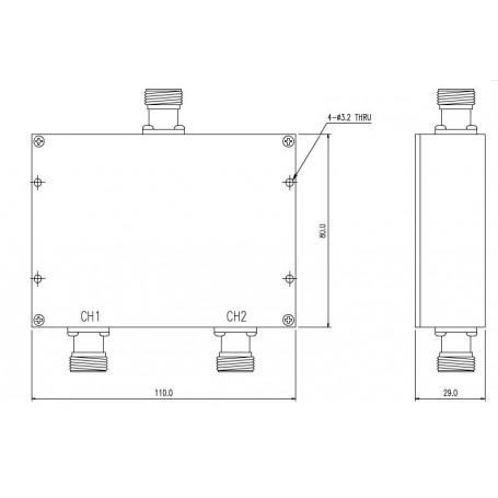 Diplexer Ultra Haute Fréquence : MD100M200W3N