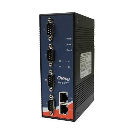Routeur industriel Rail-din 4-port RS232 à 2 ports Gigabit Ethernet : IDS-342GT