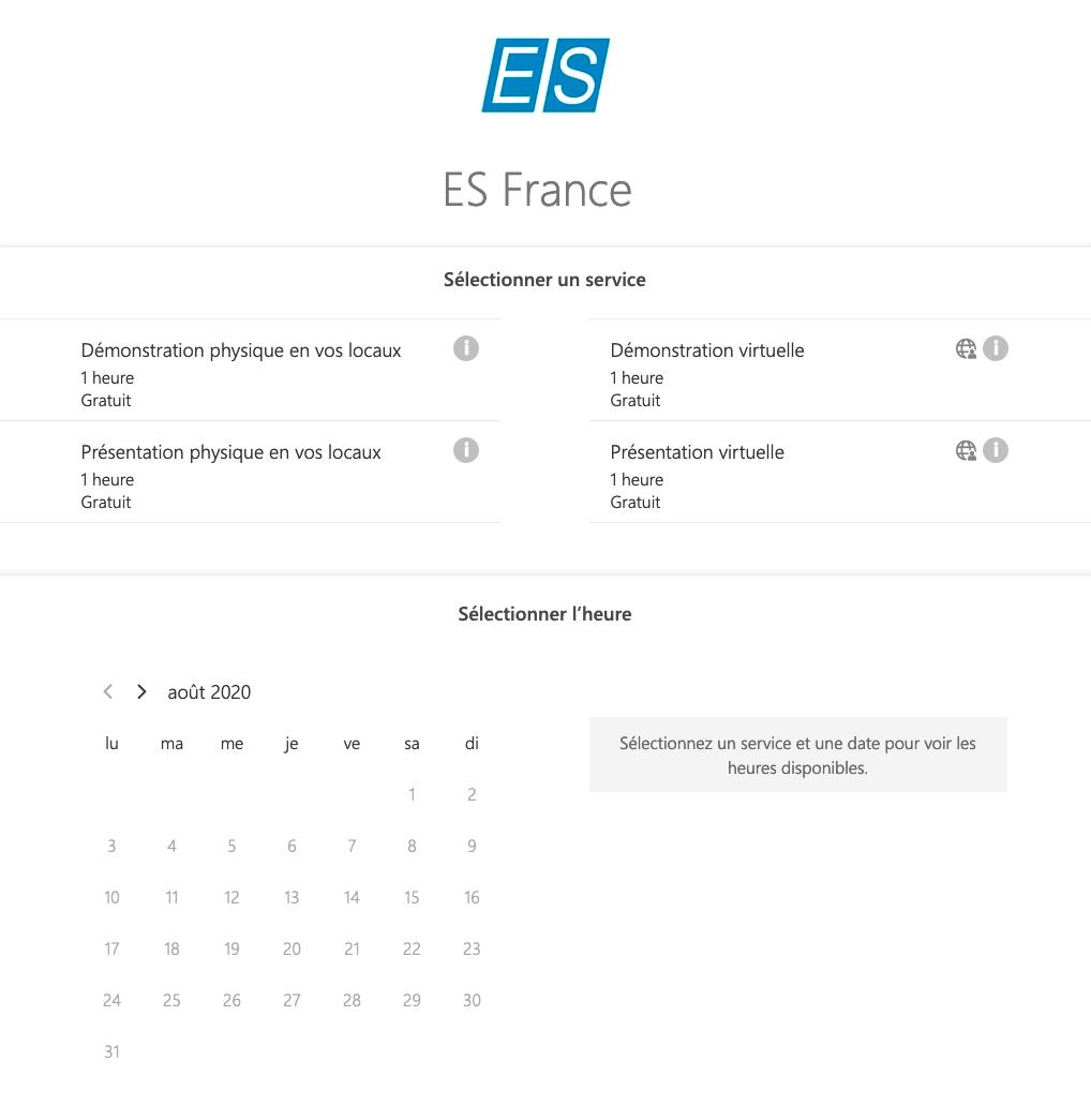 Prise de rendez-vous en ligne ES France