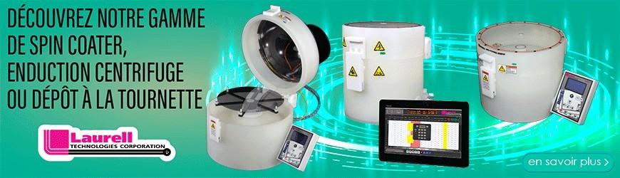 Spin coater, enduction centrifuge ou dépôt à la tournette.
