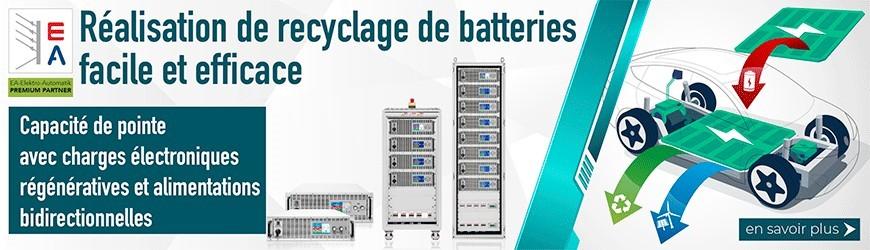 Recyclage des batteries simple et efficace avec les alimentations bidirectionnelles DC & les charges électroniques