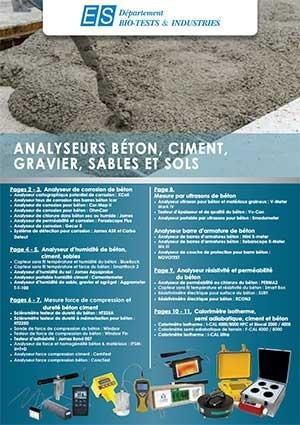 Catalogue spécial analyseurs béton, ciment, gravier, sables et sols