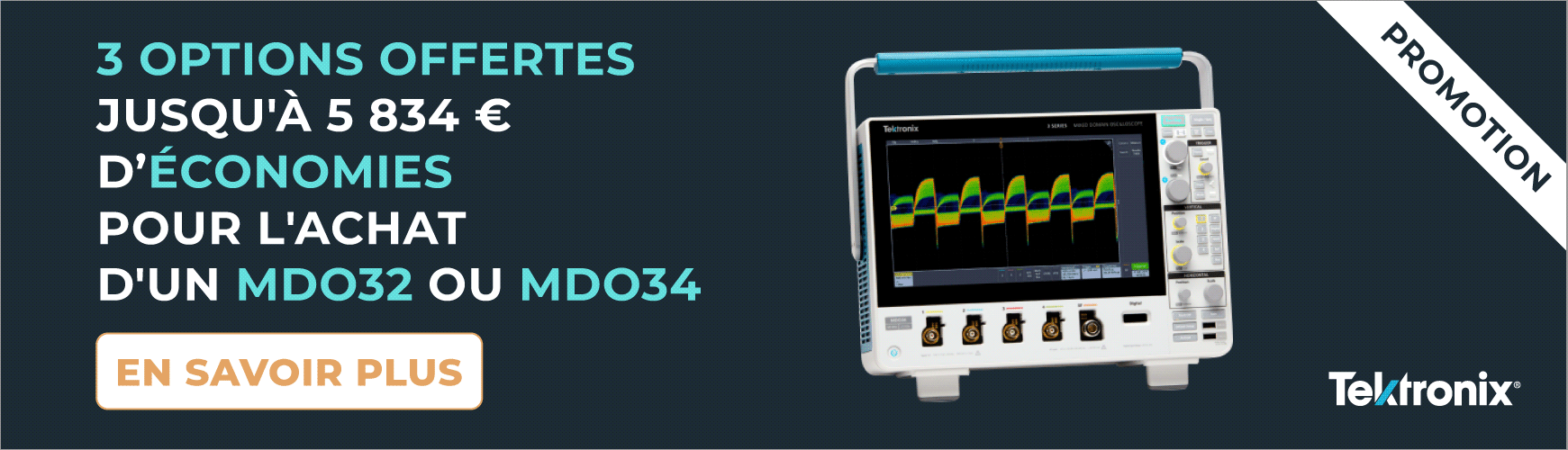 3 OPTIONS GRATUITES POUR L'ACHAT D'UN OSCILLOSCOPE MDO32 OU MDO34 - TEKTRONIX